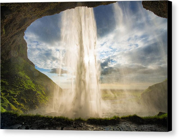 Behind The Waterfall Seljalandsfoss Iceland - Canvas Print