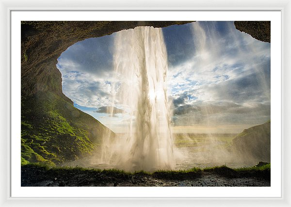 Behind The Waterfall Seljalandsfoss Iceland - Framed Print