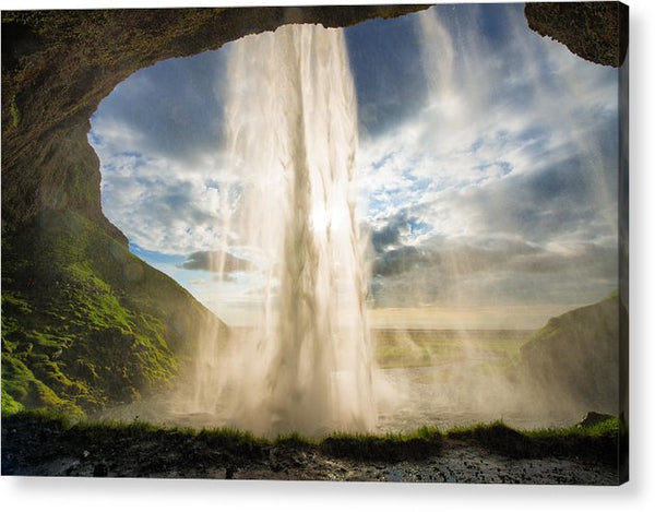 Behind The Waterfall Seljalandsfoss Iceland - Acrylic Print