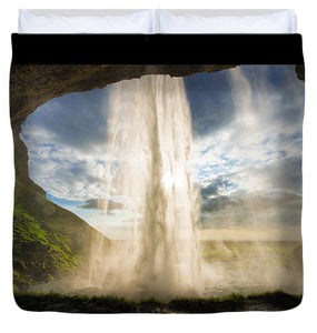 Behind The Waterfall Seljalandsfoss Iceland - Duvet Cover