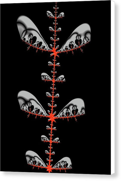 Black And Red Abstract Fractal - Canvas Print