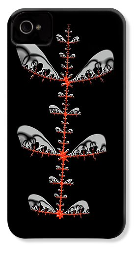 Black And Red Abstract Fractal - Phone Case