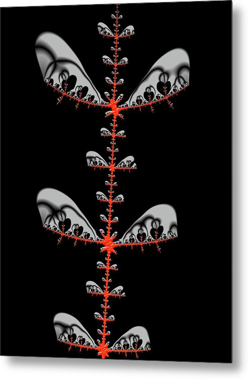 Black And Red Abstract Fractal - Metal Print