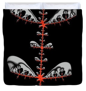 Black And Red Abstract Fractal - Duvet Cover