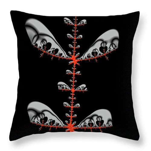 Black And Red Abstract Fractal - Throw Pillow