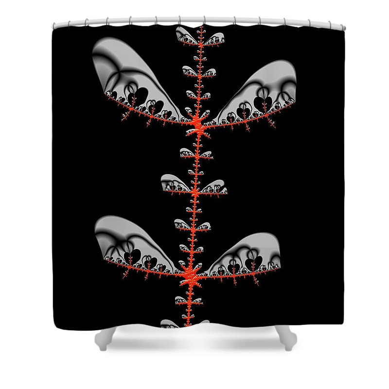 Black And Red Abstract Fractal - Shower Curtain