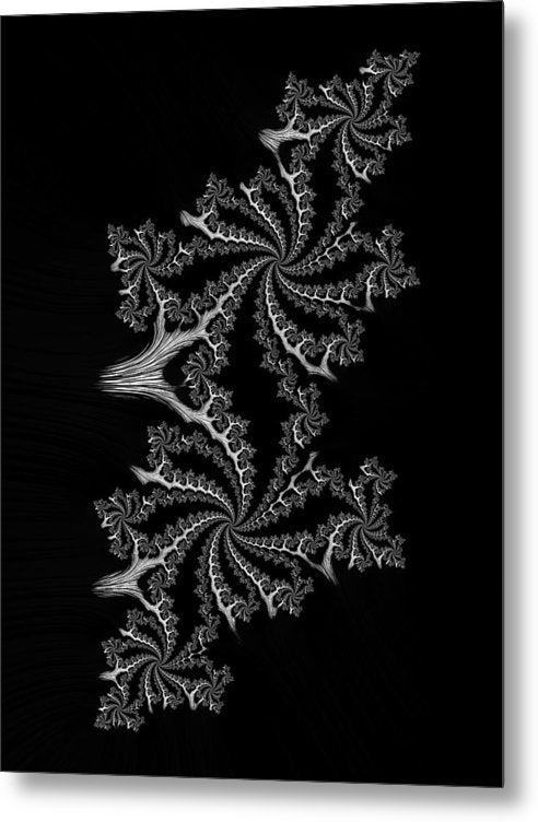 Black And White Fractal Spirals - Metal Print