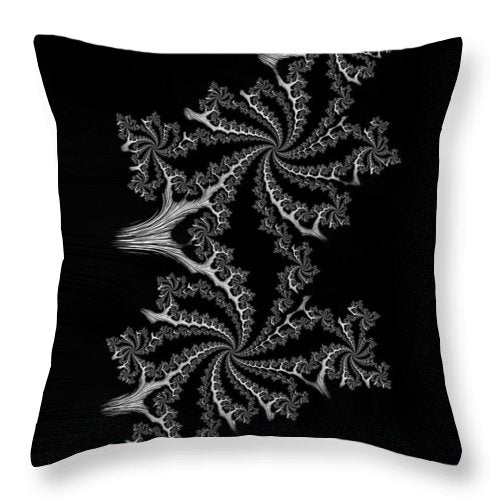 Black And White Fractal Spirals - Throw Pillow