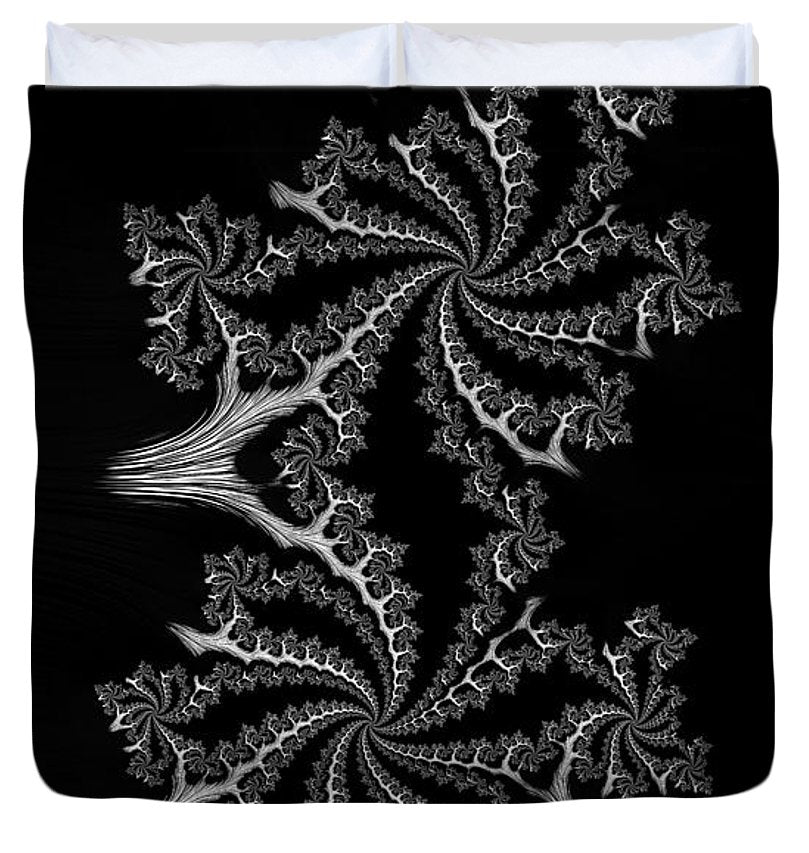 Black And White Fractal Spirals - Duvet Cover