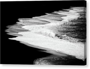 Black Beach And The Water Of The Ocean - Canvas Print