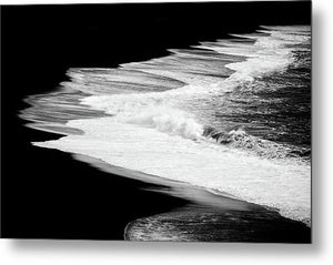 Black Beach And The Water Of The Ocean - Metal Print