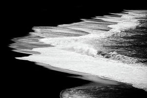Black Beach And The Water Of The Ocean - Art Print