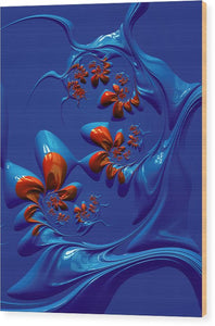Blue And Red Abstract - Wood Print