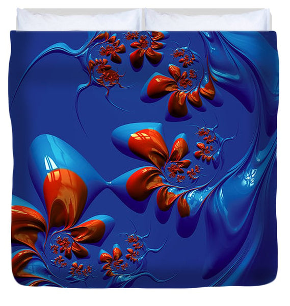 Blue And Red Abstract - Duvet Cover