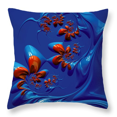 Blue And Red Abstract - Throw Pillow