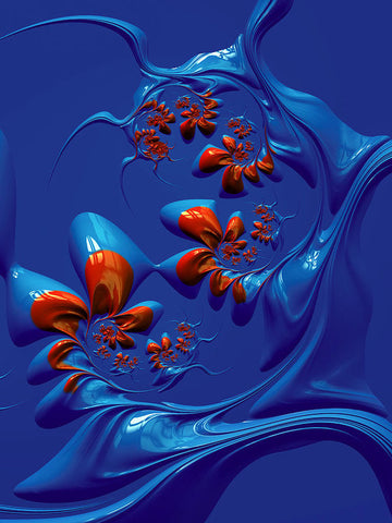 Blue And Red Abstract - Art Print