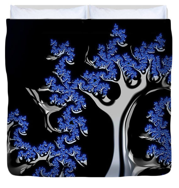 Blue And Silver Fractal Tree Abstract Artwork - Duvet Cover