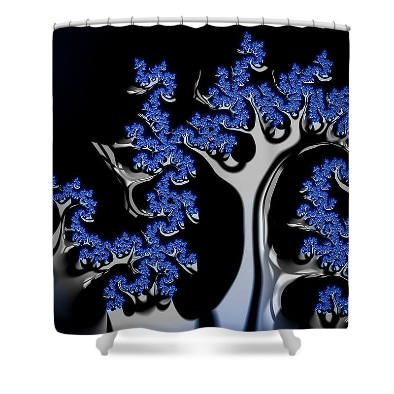 Blue And Silver Fractal Tree Abstract Artwork - Shower Curtain