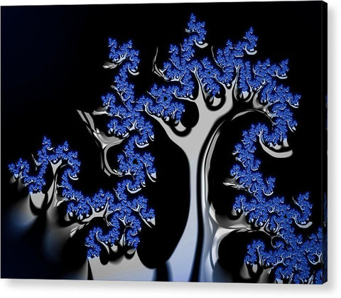 Blue And Silver Fractal Tree Abstract Artwork - Acrylic Print