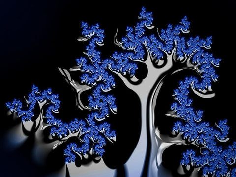 Blue And Silver Fractal Tree Abstract Artwork - Art Print