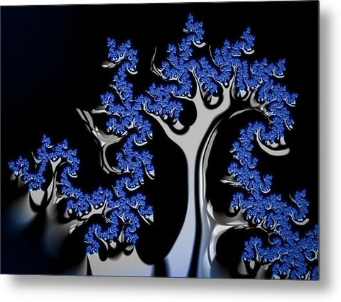Blue And Silver Fractal Tree Abstract Artwork - Metal Print
