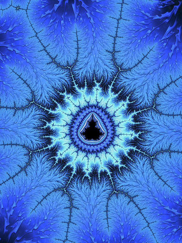 Blue Mandelbrot Fractal Relaxing And Balanced - Art Print