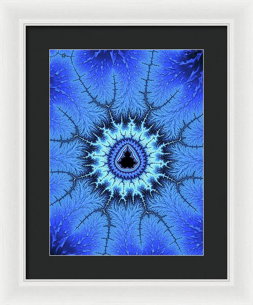 Blue Mandelbrot Fractal Relaxing And Balanced - Framed Print