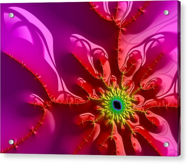 Bright And Colorful Digital Abstract Fractal Artwork Purple And Red - Acrylic Print