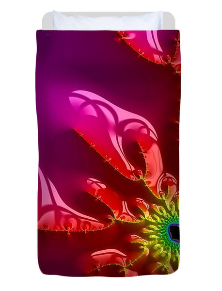 Bright And Colorful Digital Abstract Fractal Artwork Purple And Red - Duvet Cover