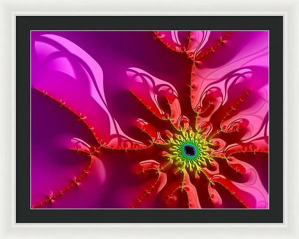 Bright And Colorful Digital Abstract Fractal Artwork Purple And Red - Framed Print