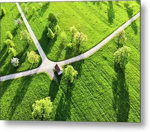 Bright Green Spring Meadow Aerial Photo - Metal Print
