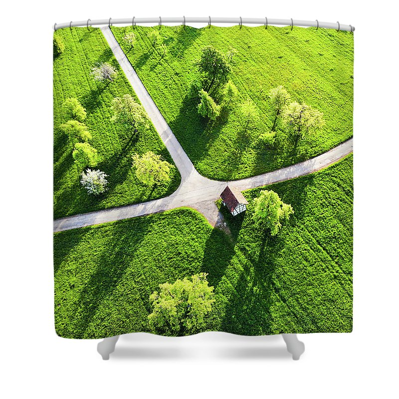 Bright Green Spring Meadow Aerial Photo - Shower Curtain