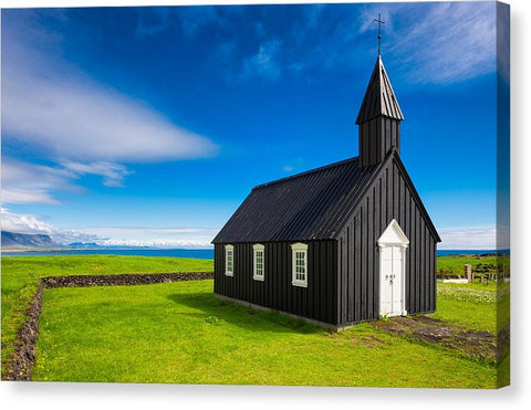 Budir Black Church West Iceland Europe - Canvas Print