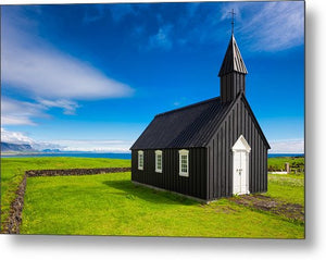 Budir Black Church West Iceland Europe - Metal Print