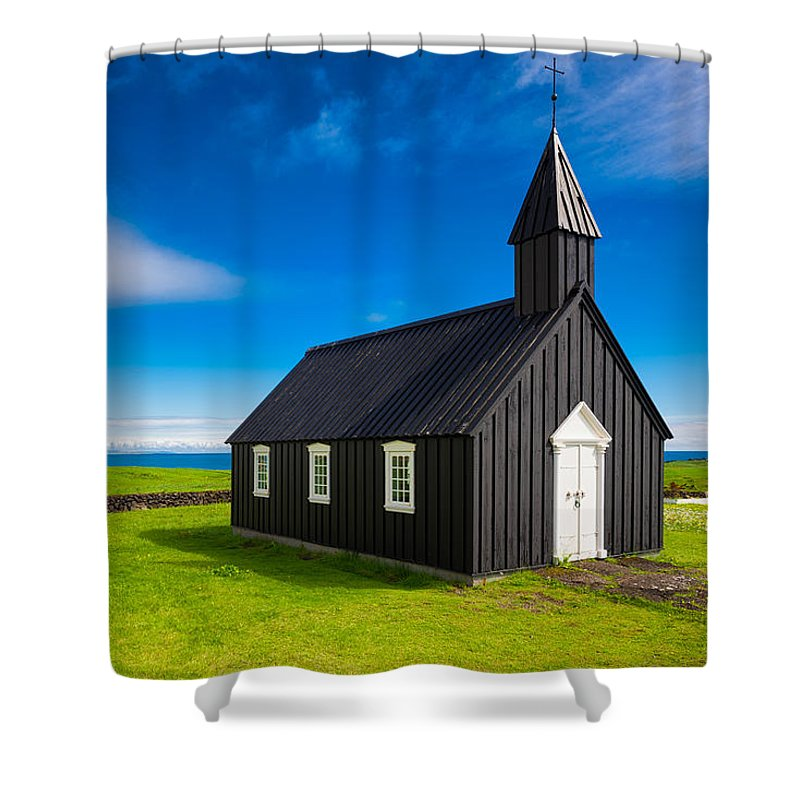 Budir Black Church West Iceland Europe - Shower Curtain