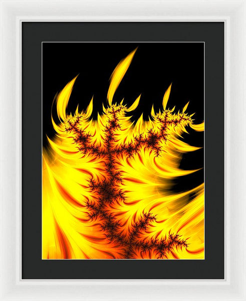 Burning Fractal Flames Warm Yellow And Orange - Framed Print