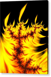 Burning Fractal Flames Warm Yellow And Orange - Acrylic Print
