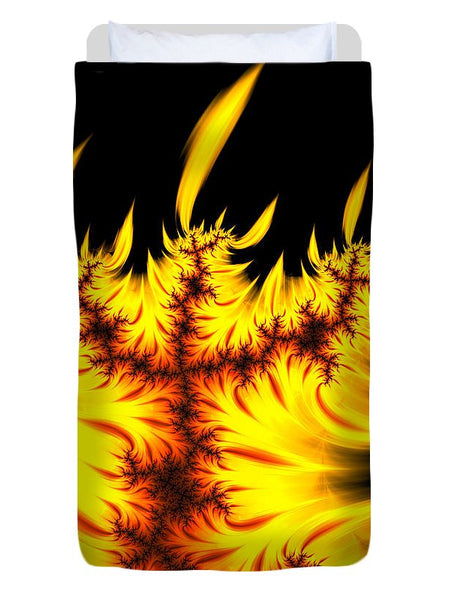 Burning Fractal Flames Warm Yellow And Orange - Duvet Cover
