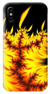 Burning Fractal Flames Warm Yellow And Orange - Phone Case