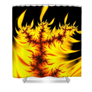 Burning Fractal Flames Warm Yellow And Orange - Shower Curtain