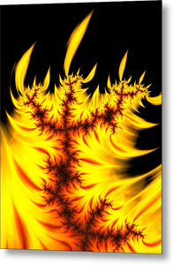 Burning Fractal Flames Warm Yellow And Orange - Metal Print