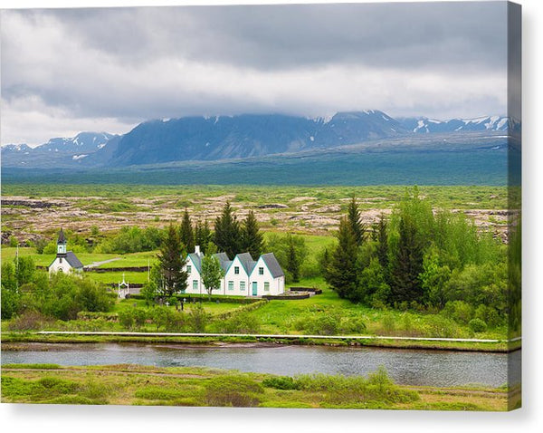 Church And Buildings National Park Pingvellir Iceland - Canvas Print