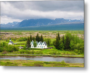 Church And Buildings National Park Pingvellir Iceland - Metal Print