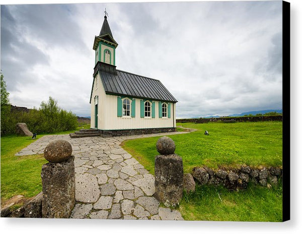 Church Pingvallakirkja South Iceland Pingvellir - Canvas Print