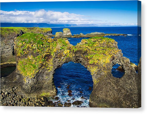 Cliffs And Blue Water Of The Ocean Arnarstapi Snaefellsnes Iceland - Canvas Print