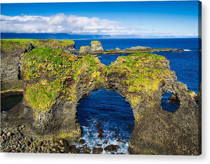 Cliffs And Blue Water Of The Ocean Arnarstapi Snaefellsnes Iceland - Acrylic Print