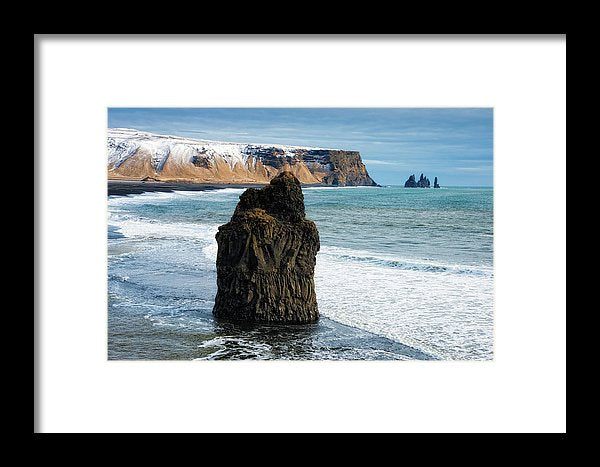 Cliffs And Ocean In Iceland Reynisfjara - Framed Print
