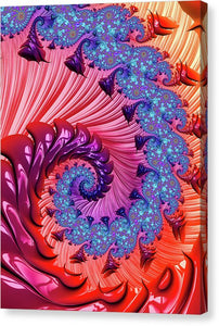 Colorful Fractal Spiral Red And Blue - Canvas Print