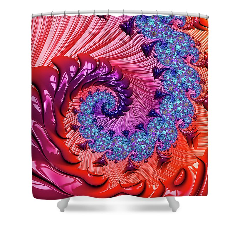 Colorful Fractal Spiral Red And Blue - Shower Curtain