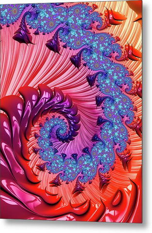Colorful Fractal Spiral Red And Blue - Metal Print